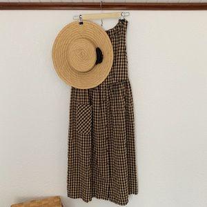 Vintage Smock Gingham Midi Dress